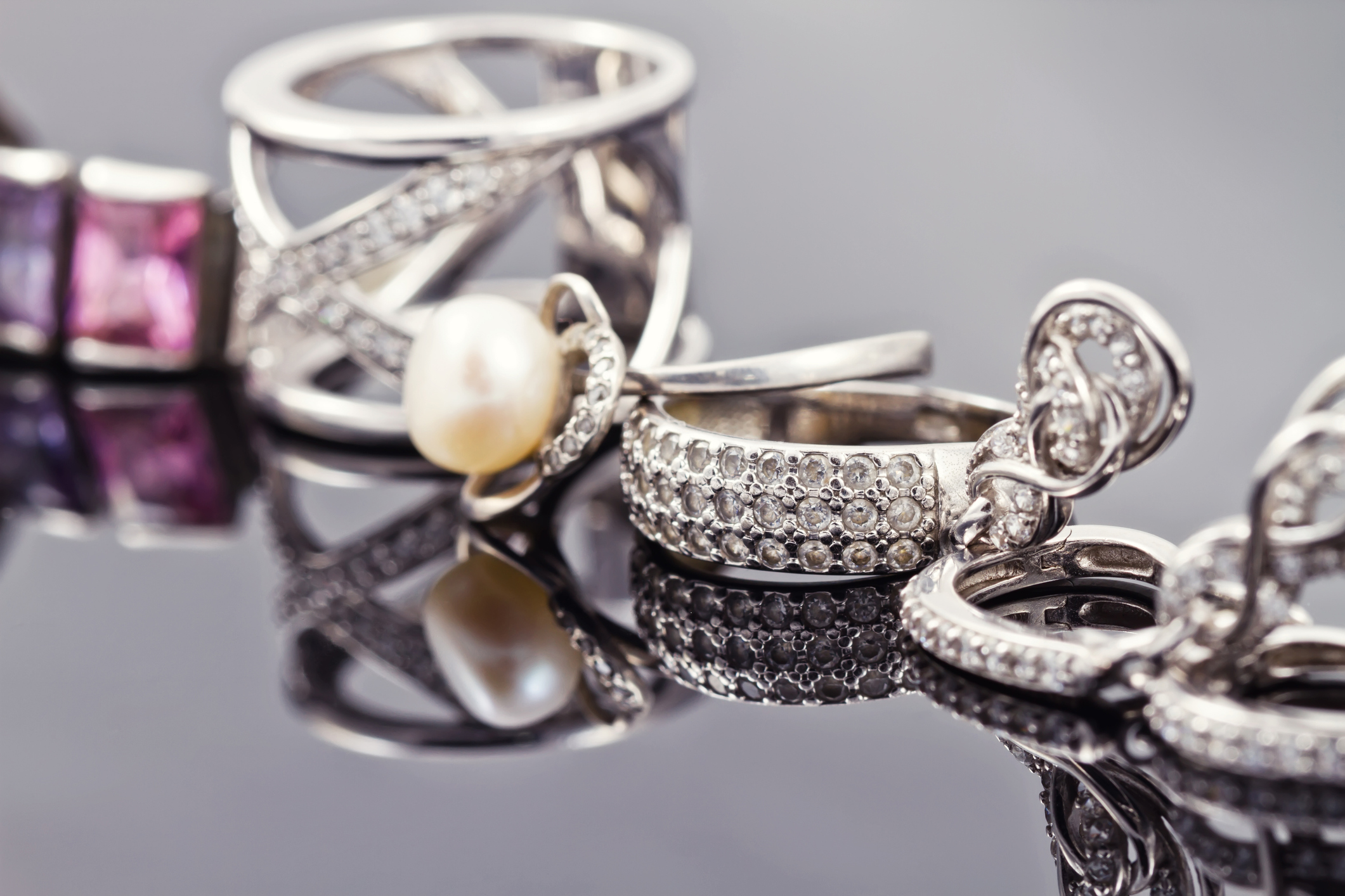 variety of silver jewelry